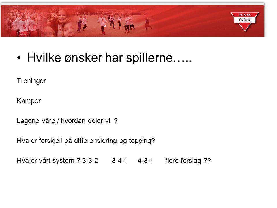 Sesongen 2014 Hvilke ønsker har spillerne….. Treninger Kamper