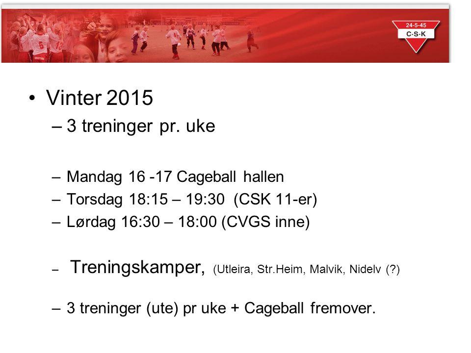Sesongen 2014 Vinter 2015 3 treninger pr. uke