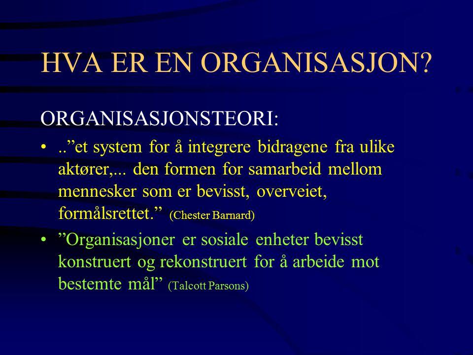 HVA ER EN ORGANISASJON ORGANISASJONSTEORI: