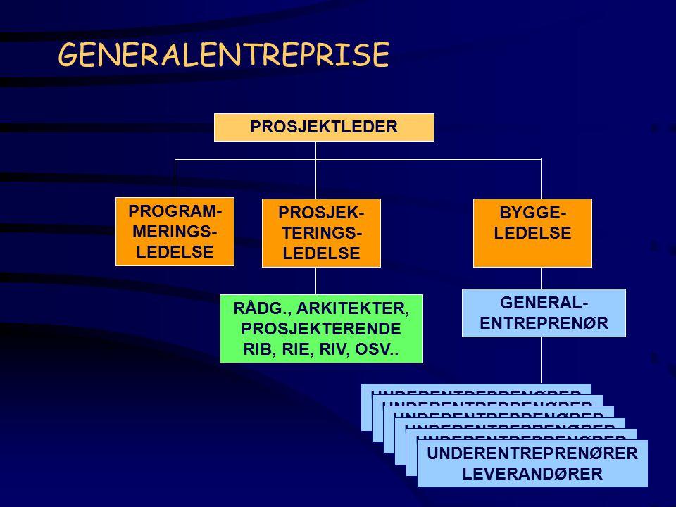 GENERALENTREPRISE PROSJEKTLEDER PROGRAM-MERINGS-LEDELSE