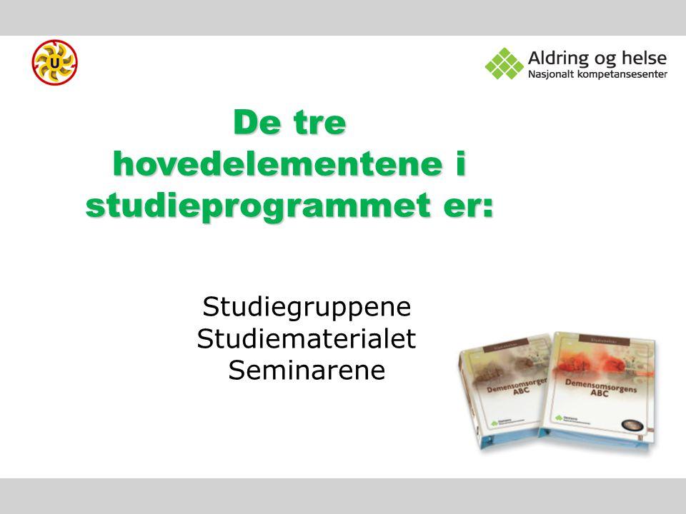De tre hovedelementene i studieprogrammet er: