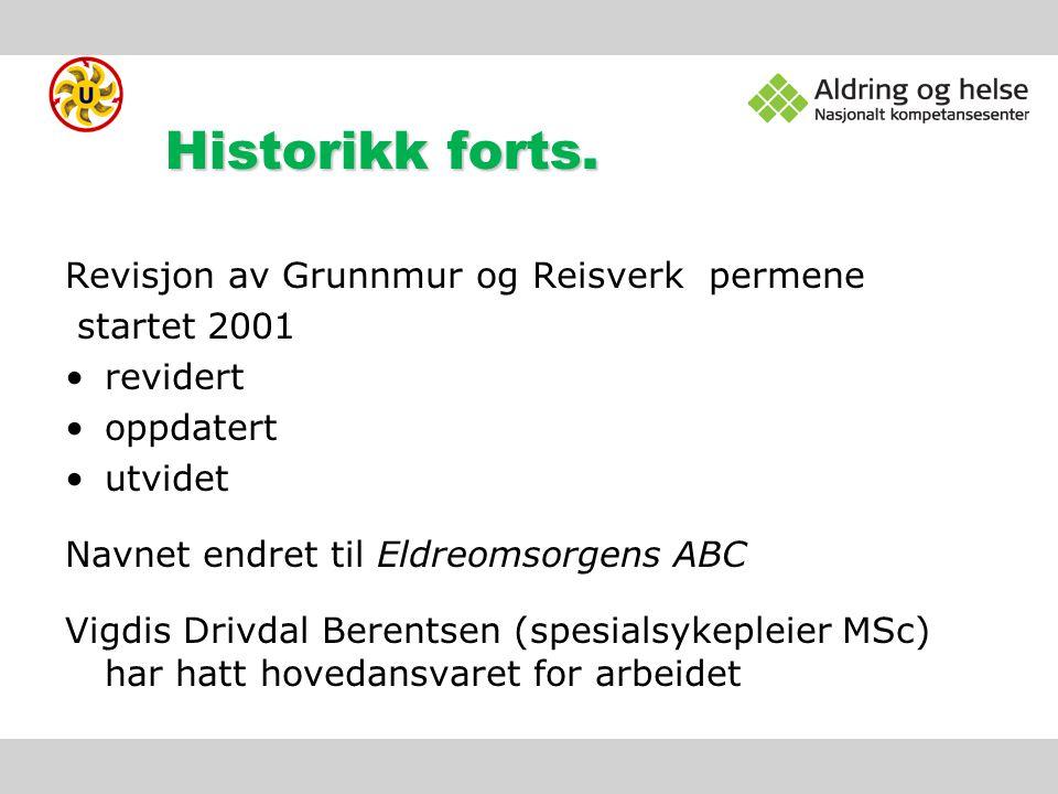 Historikk forts. Revisjon av Grunnmur og Reisverk permene startet 2001