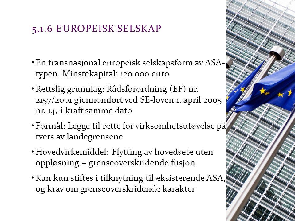 5.1.6 Europeisk selskap En transnasjonal europeisk selskapsform av ASA- typen. Minstekapital: 120 000 euro.