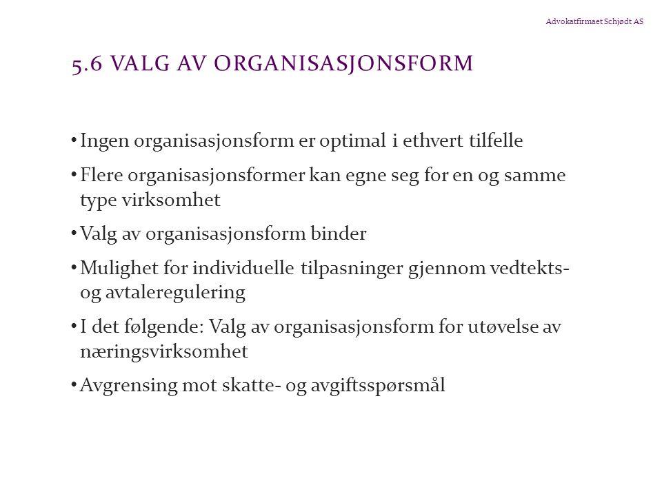 5.6 Valg av organisasjonsform