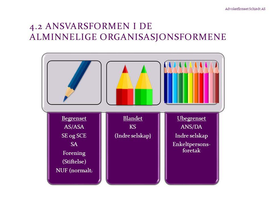 4.2 Ansvarsformen i de alminnelige organisasjonsformene