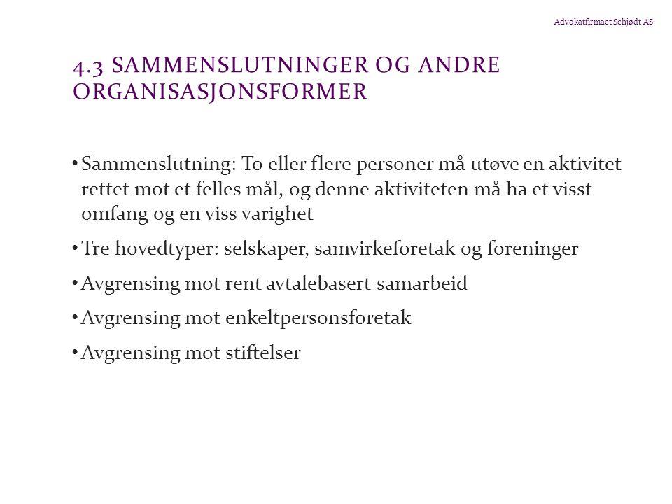4.3 Sammenslutninger og andre organisasjonsformer