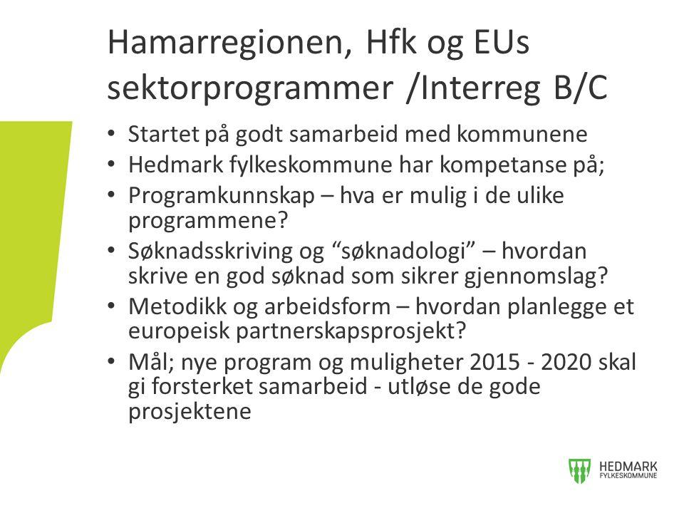 Hamarregionen, Hfk og EUs sektorprogrammer /Interreg B/C