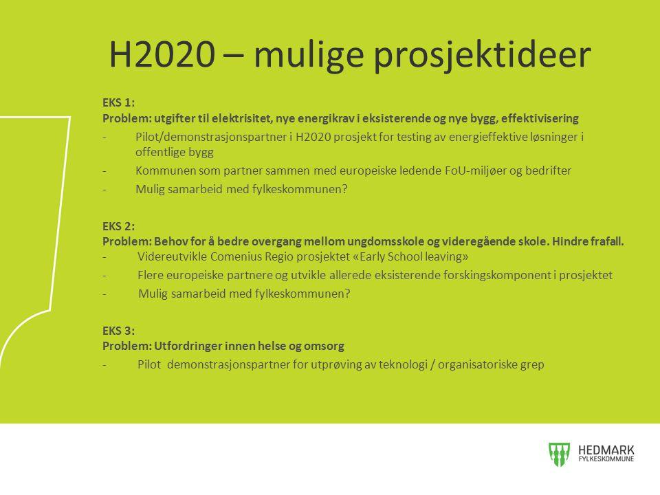 H2020 – mulige prosjektideer