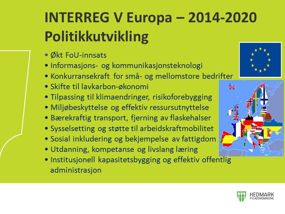 INTERREG V Europa – 2014-2020 Politikkutvikling