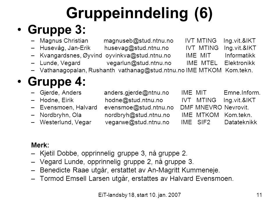 Gruppeinndeling (6) Gruppe 3: Gruppe 4: Merk: