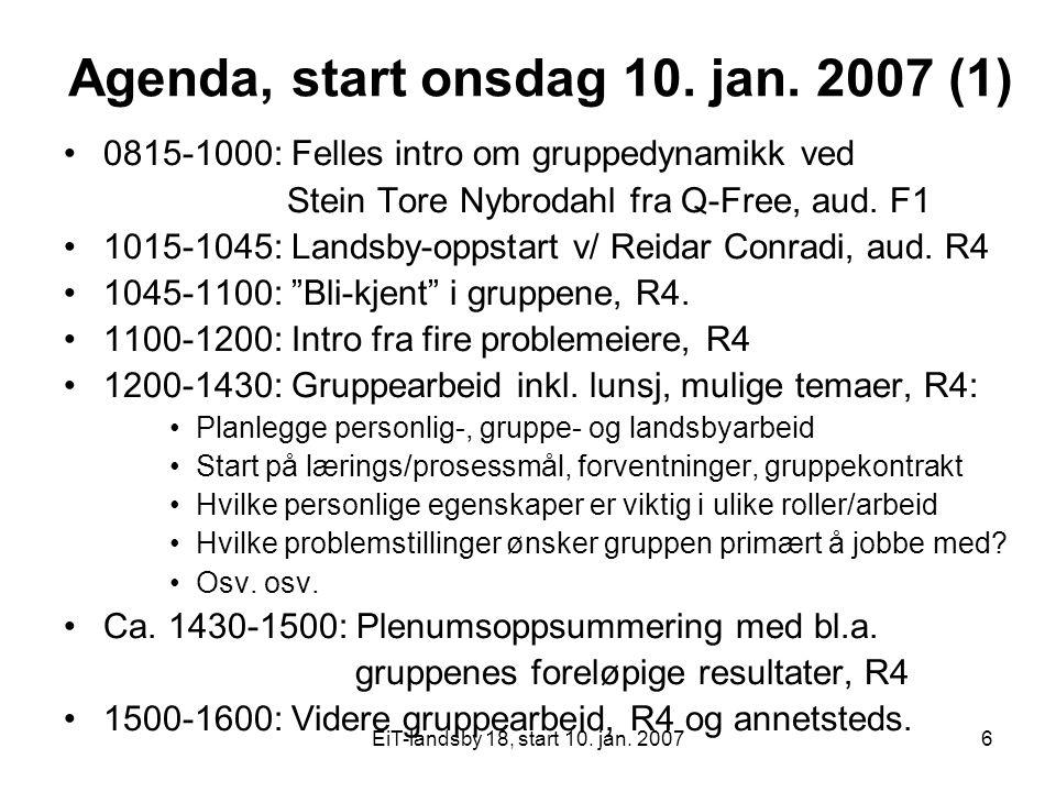 Agenda, start onsdag 10. jan. 2007 (1)