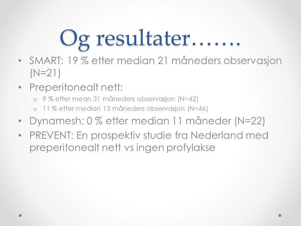 Og resultater……. SMART: 19 % etter median 21 måneders observasjon (N=21) Preperitonealt nett: 9 % etter mean 31 måneders observasjon (N=42)