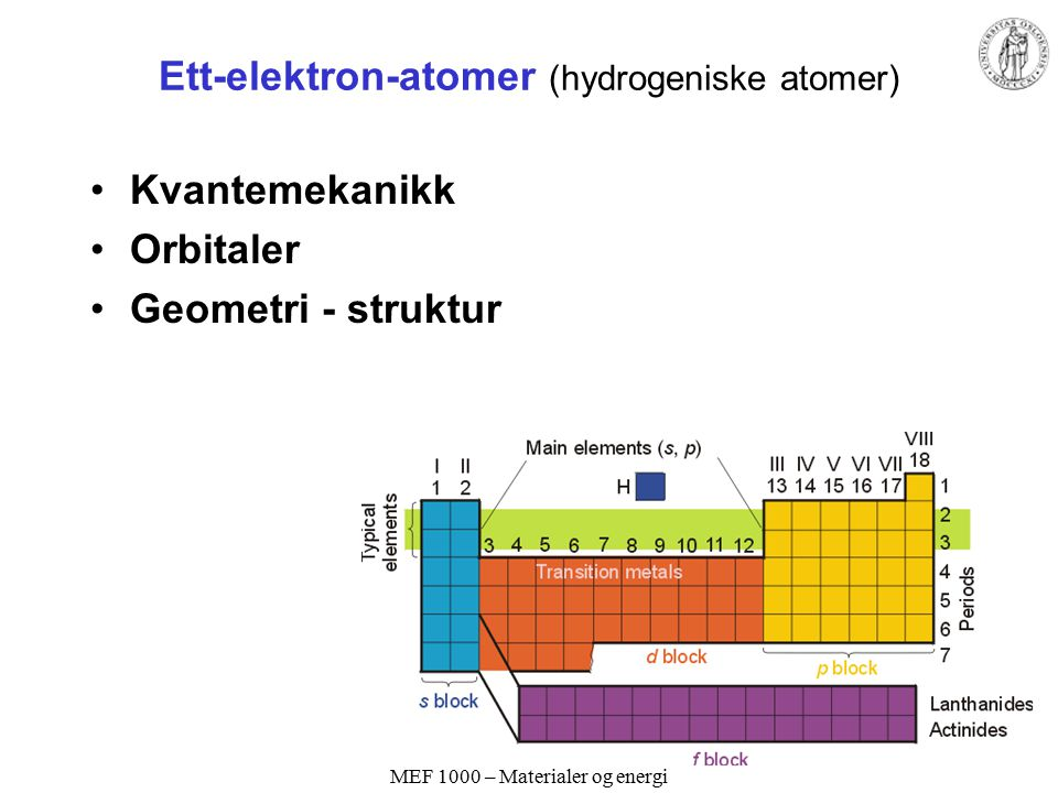 Ett-elektron-atomer (hydrogeniske atomer)