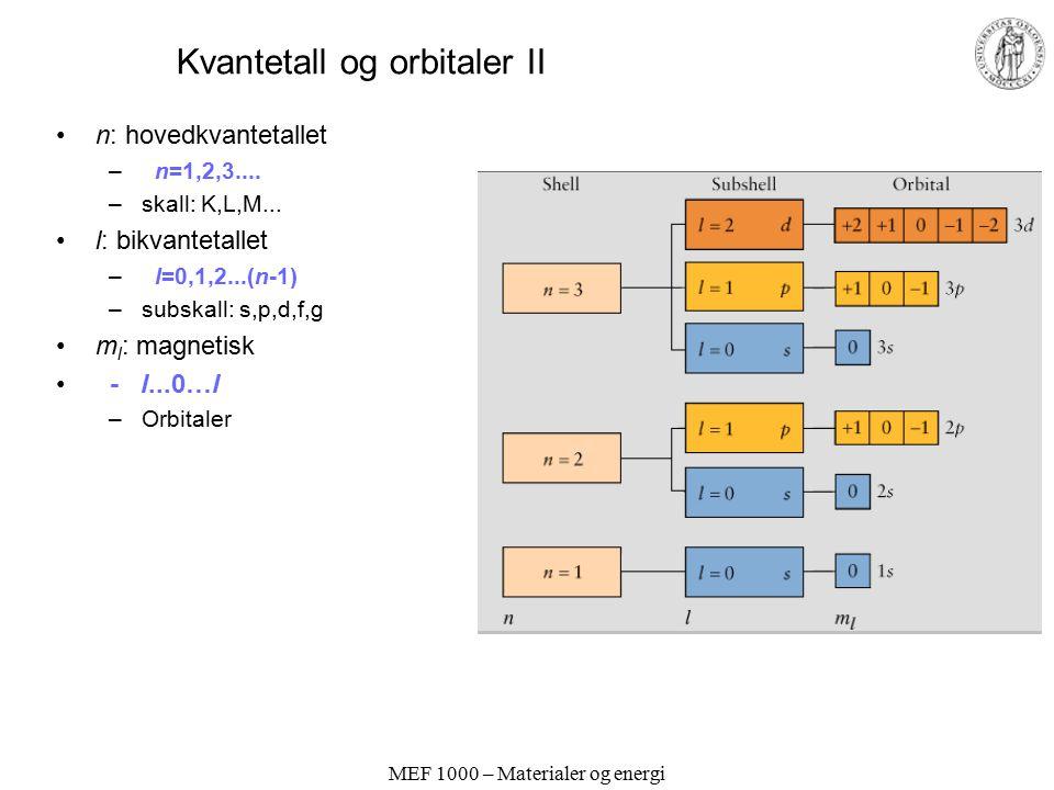 Kvantetall og orbitaler II