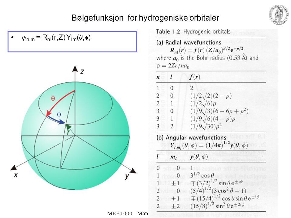 Bølgefunksjon for hydrogeniske orbitaler