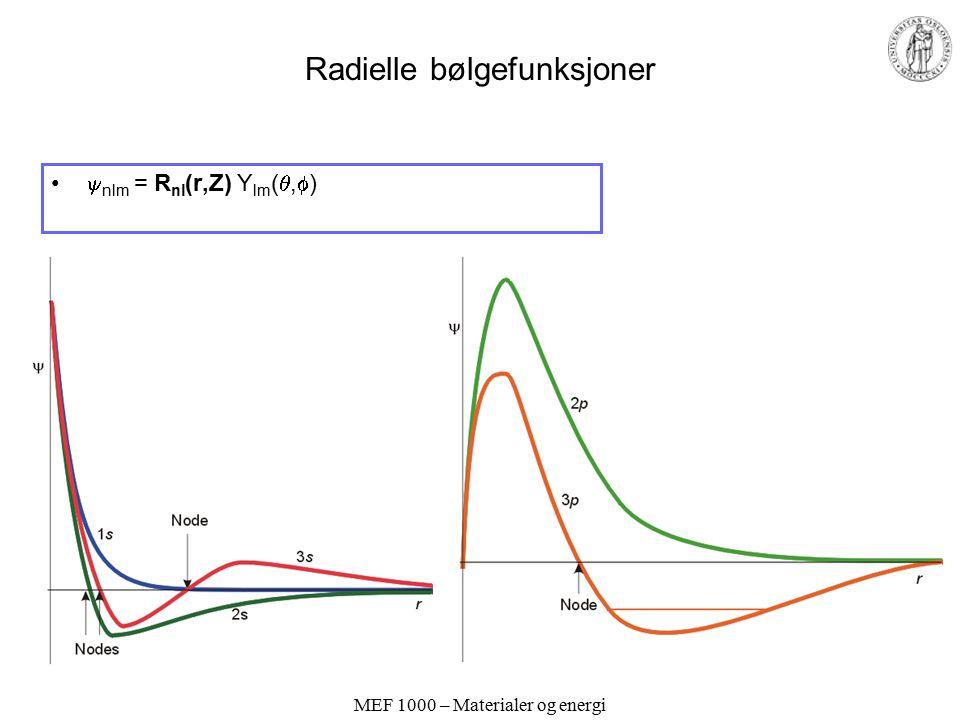 Radielle bølgefunksjoner