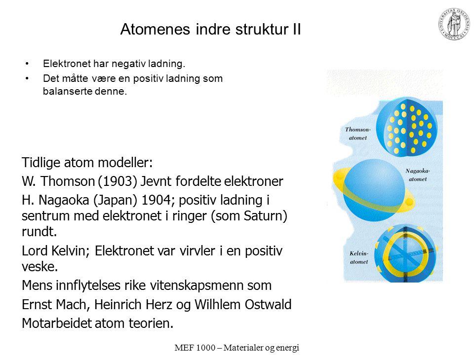 Atomenes indre struktur II