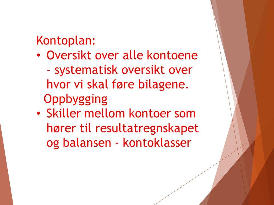 Kontoplan: Oversikt over alle kontoene – systematisk oversikt over hvor vi skal føre bilagene. Oppbygging.