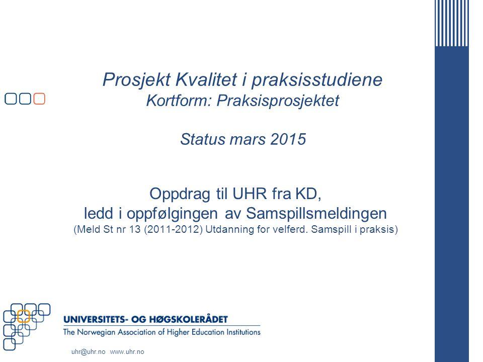 Prosjekt Kvalitet i praksisstudiene Kortform: Praksisprosjektet Status mars 2015