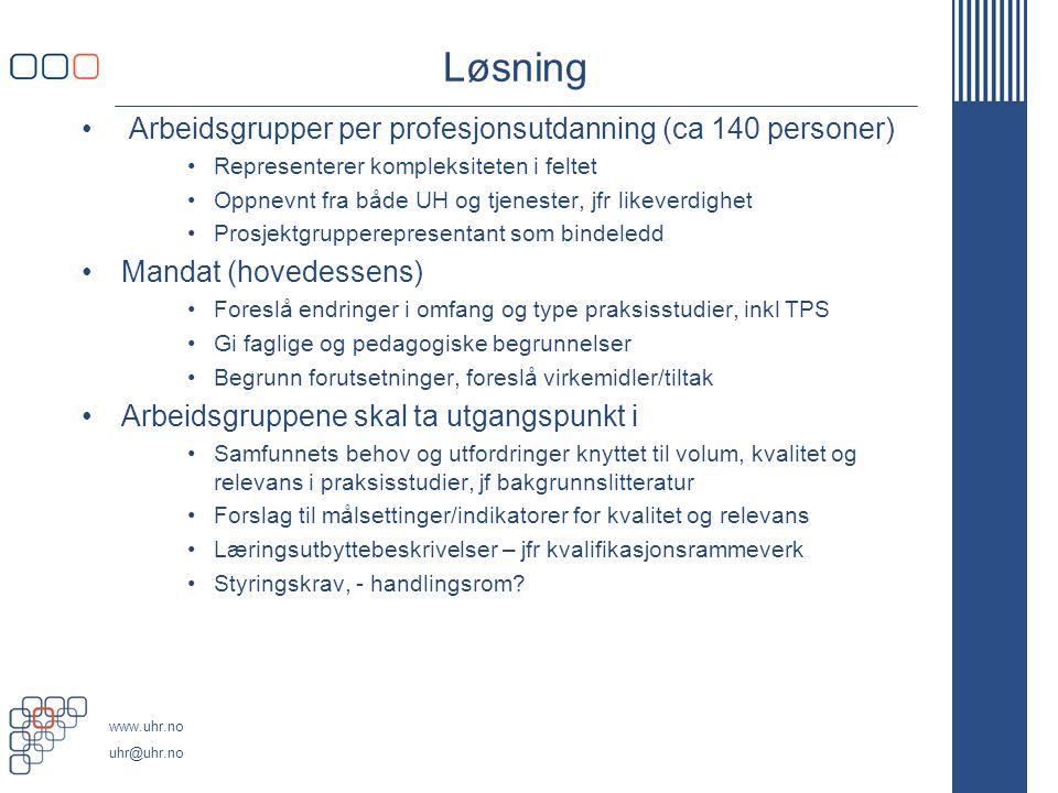 Løsning Arbeidsgrupper per profesjonsutdanning (ca 140 personer)