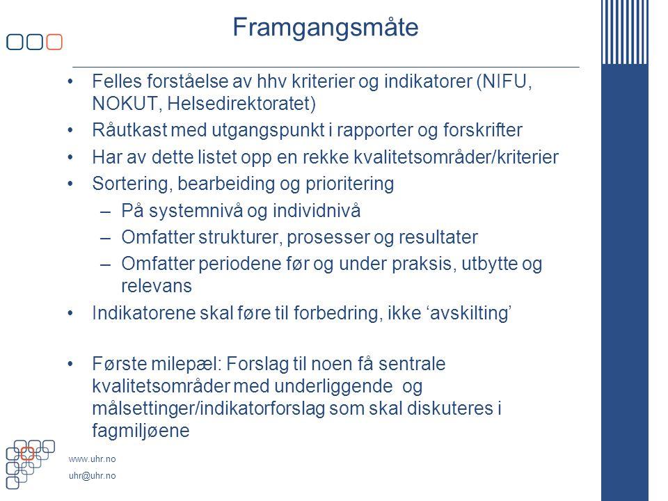 Framgangsmåte Felles forståelse av hhv kriterier og indikatorer (NIFU, NOKUT, Helsedirektoratet)