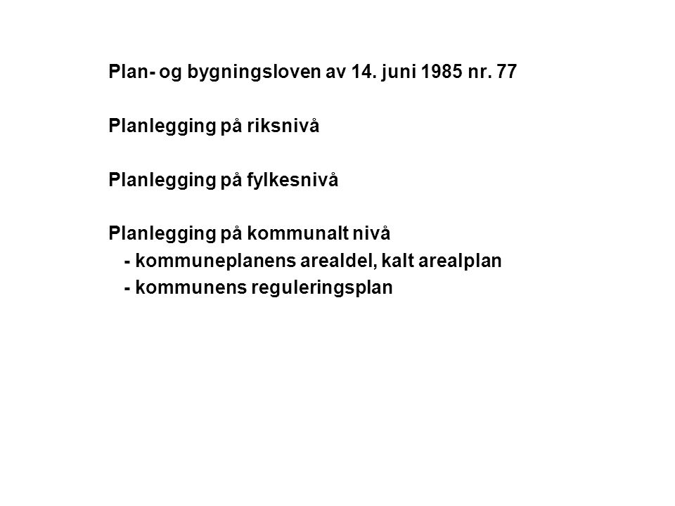 Plan- og bygningsloven av 14. juni 1985 nr. 77