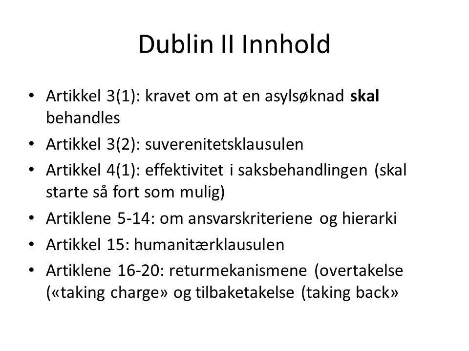 Dublin II Innhold Artikkel 3(1): kravet om at en asylsøknad skal behandles. Artikkel 3(2): suverenitetsklausulen.