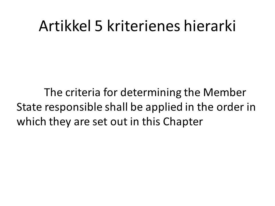 Artikkel 5 kriterienes hierarki