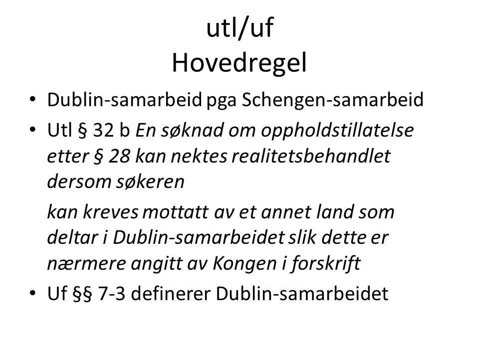 utl/uf Hovedregel Dublin-samarbeid pga Schengen-samarbeid