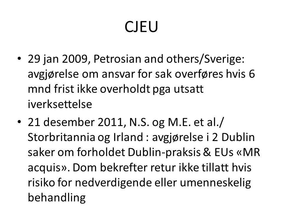 CJEU 29 jan 2009, Petrosian and others/Sverige: avgjørelse om ansvar for sak overføres hvis 6 mnd frist ikke overholdt pga utsatt iverksettelse.
