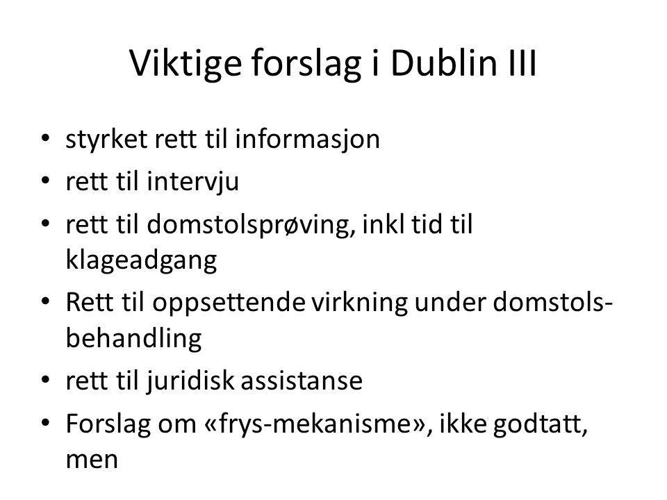 Viktige forslag i Dublin III