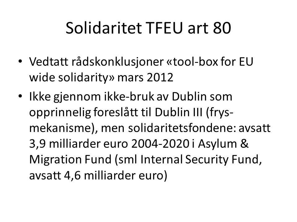 Solidaritet TFEU art 80 Vedtatt rådskonklusjoner «tool-box for EU wide solidarity» mars 2012.