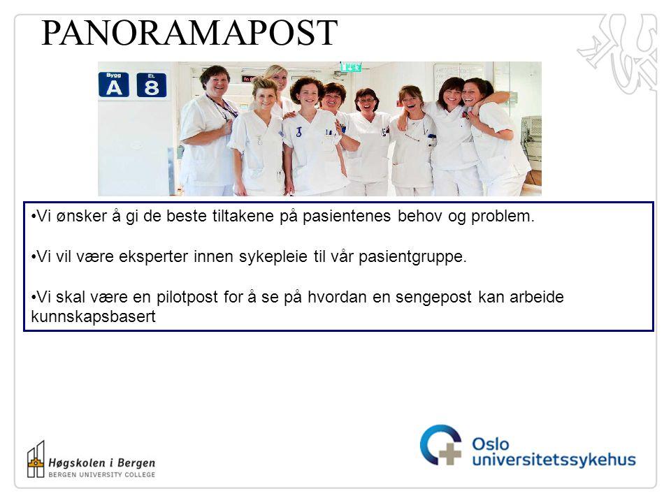 PANORAMAPOST Vi ønsker å gi de beste tiltakene på pasientenes behov og problem. Vi vil være eksperter innen sykepleie til vår pasientgruppe.