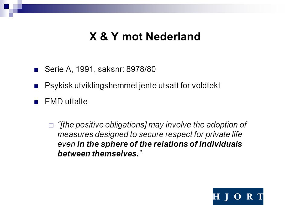 X & Y mot Nederland Serie A, 1991, saksnr: 8978/80