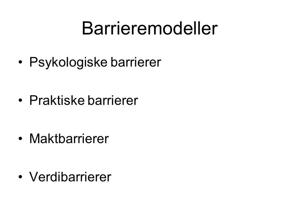 Barrieremodeller Psykologiske barrierer Praktiske barrierer