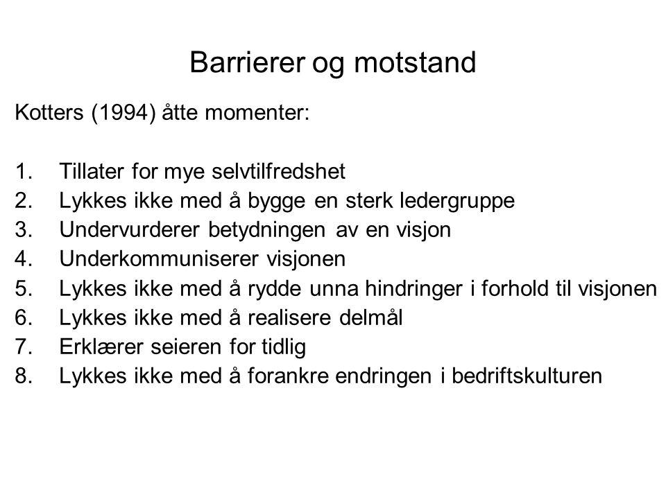 Barrierer og motstand Kotters (1994) åtte momenter: