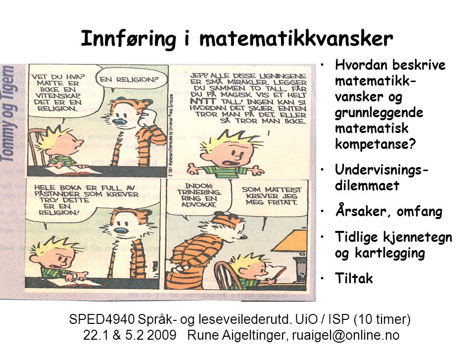 Innføring i matematikkvansker