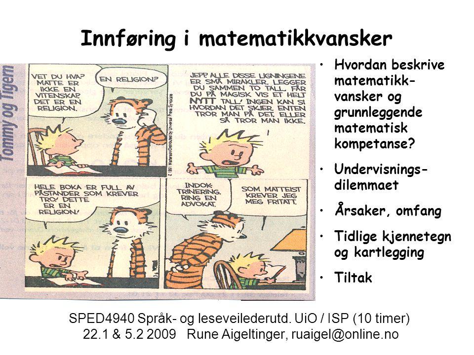 Innføring i matematikkvansker