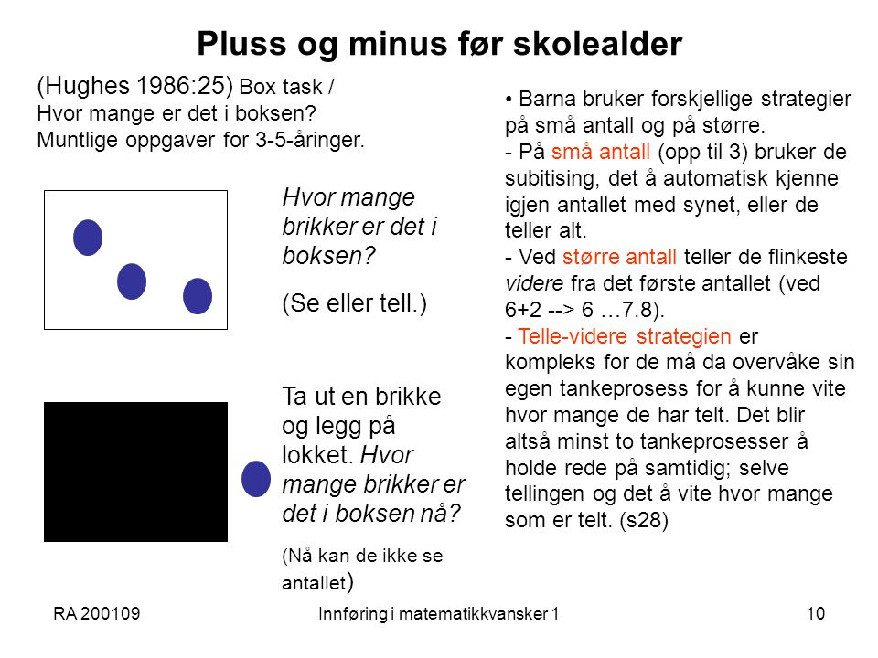Pluss og minus før skolealder