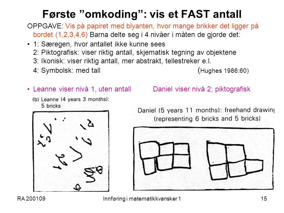 Første omkoding : vis et FAST antall