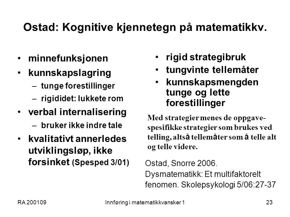Ostad: Kognitive kjennetegn på matematikkv.