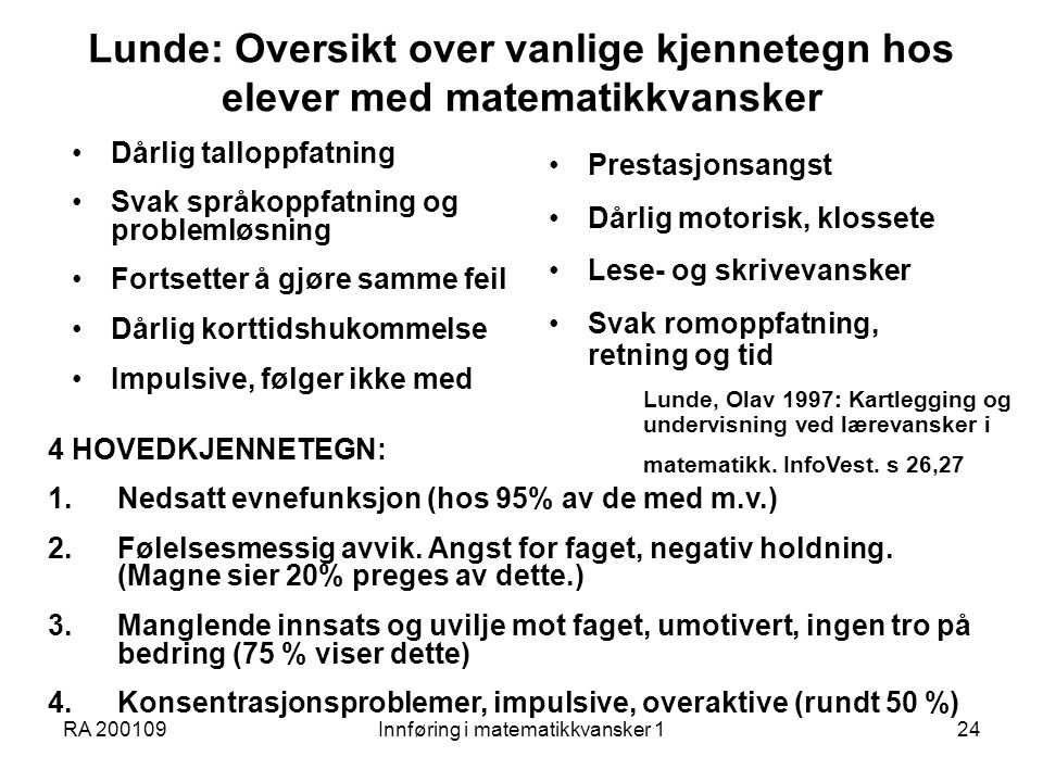 Innføring i matematikkvansker 1