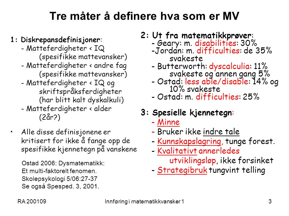 Tre måter å definere hva som er MV
