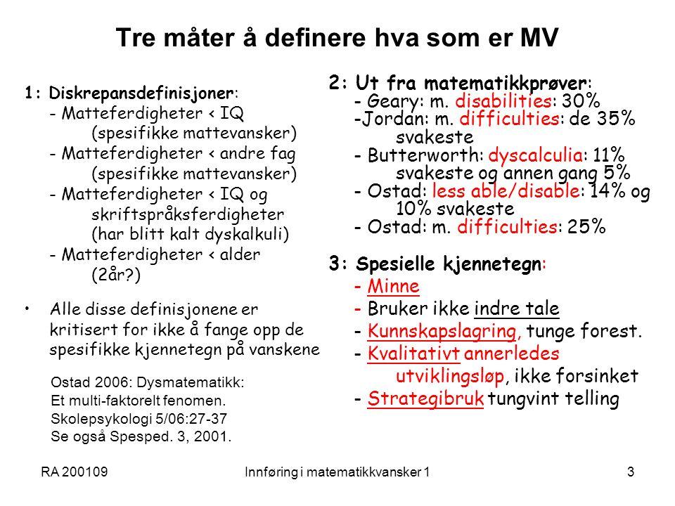 Tre måter å definere hva som er MV