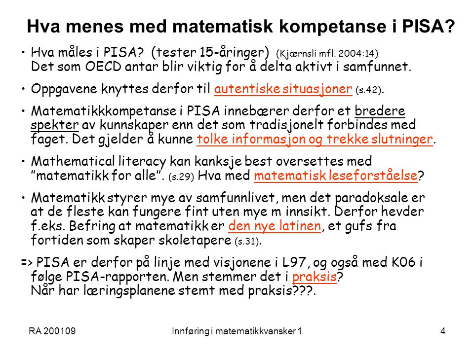 Hva menes med matematisk kompetanse i PISA