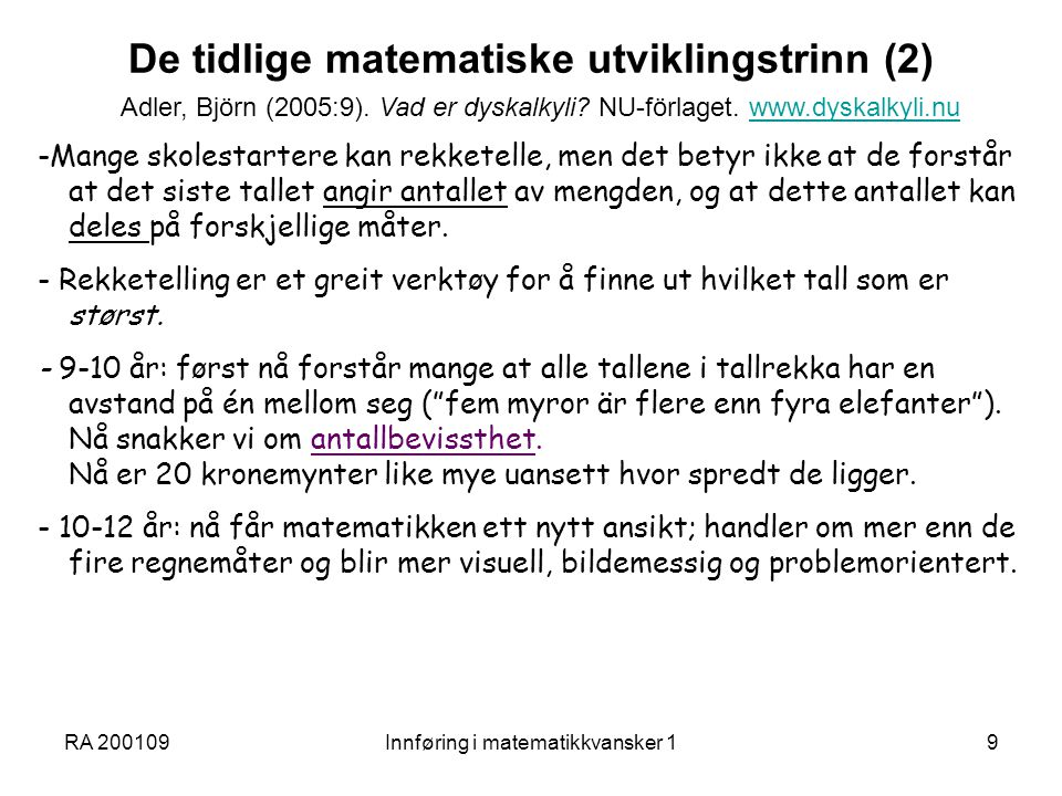 De tidlige matematiske utviklingstrinn (2)