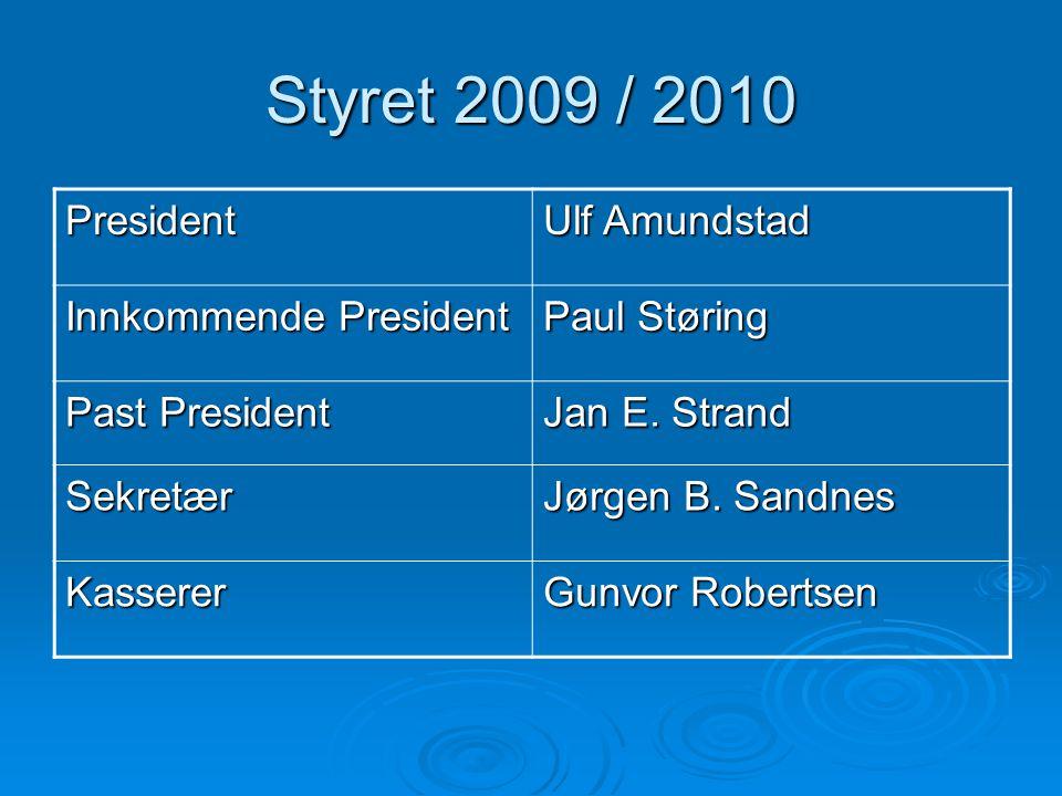Styret 2009 / 2010 President Ulf Amundstad Innkommende President