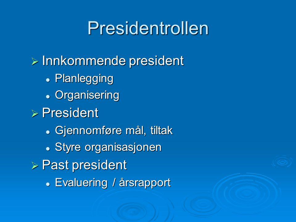 Presidentrollen Innkommende president President Past president