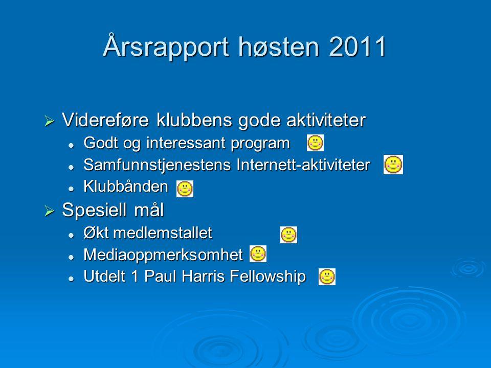 Årsrapport høsten 2011 Videreføre klubbens gode aktiviteter