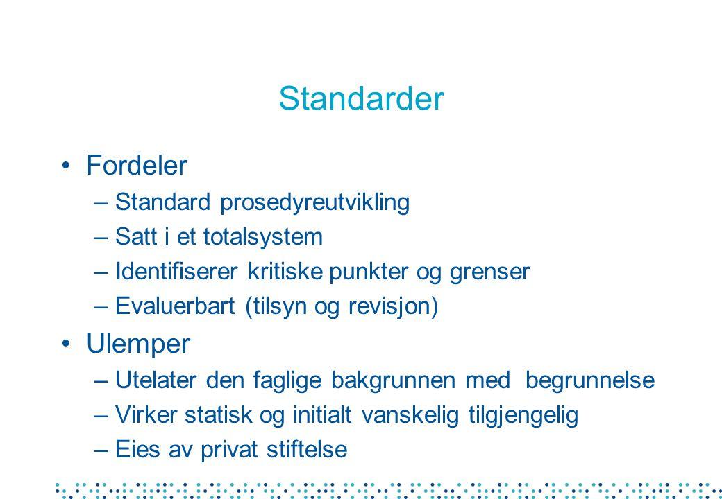 Standarder Fordeler Ulemper Standard prosedyreutvikling